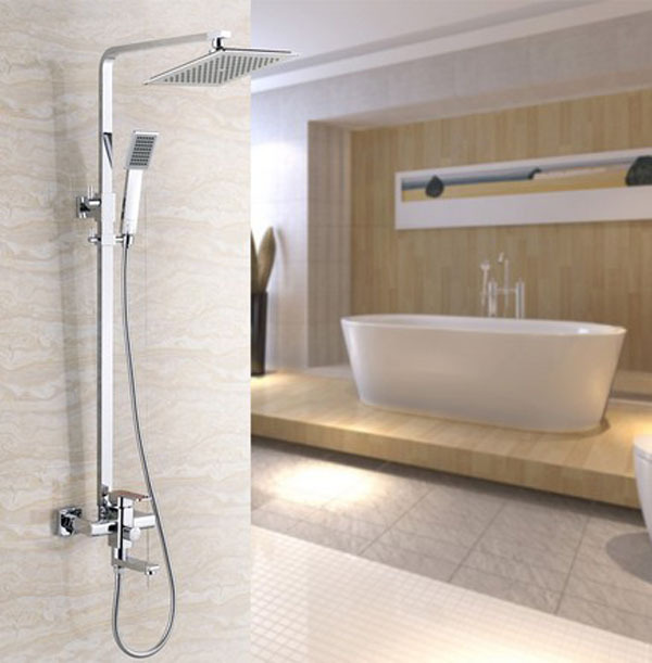 8Square Rainfall Shower Set Tub Mixer Faucet Wall Mounted Tap With Hand Sprayer
