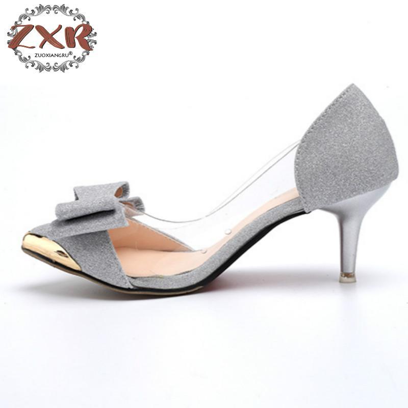 d736793f9eead Casual Bout Zuoxiangru Appartements Designer Chaussures Transparent Slip Sandales  Femmes 2 Sur Pointu Dames 3 Bowknot ...