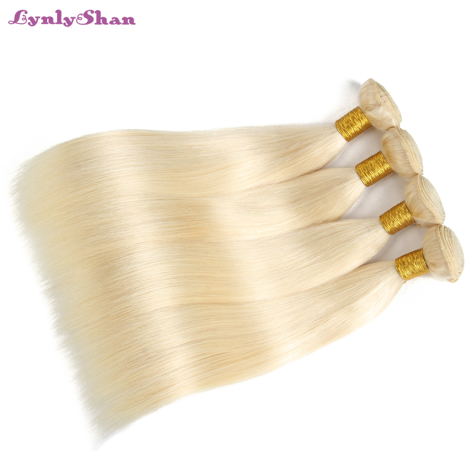 Lynlyshan Human Hair Bundles Brazilian Straight Hair 3 Bundles with Lace Frontal 613 Blonde Color Remy Hair Free Shipping