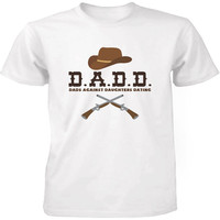 Men S T Shirt Funny Statement White Shirts Dads Against Daughters Dating Graphic Hat And Guns