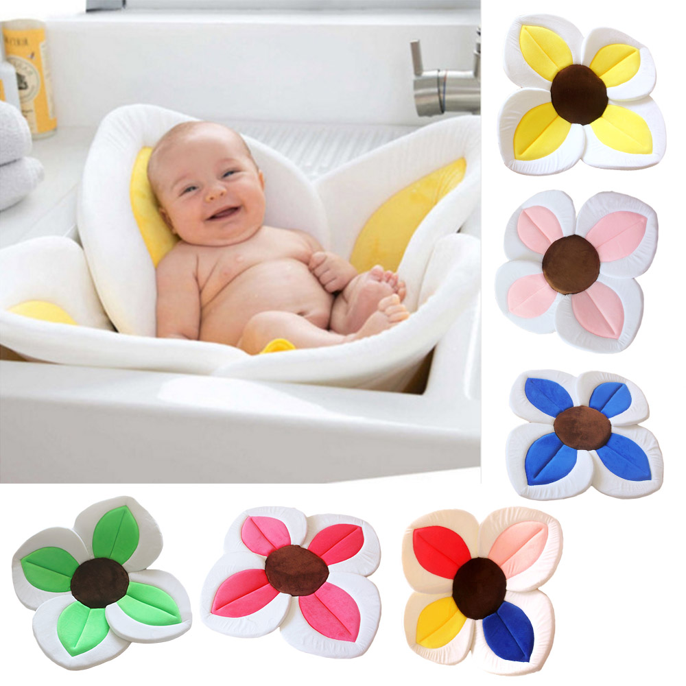 Baby Bath Tub Mat Foldable Lotus Cushion Newborn Bathtub Bath Pad Portable Bath Tub Mat Soft Infant Shower Support Cushion ...