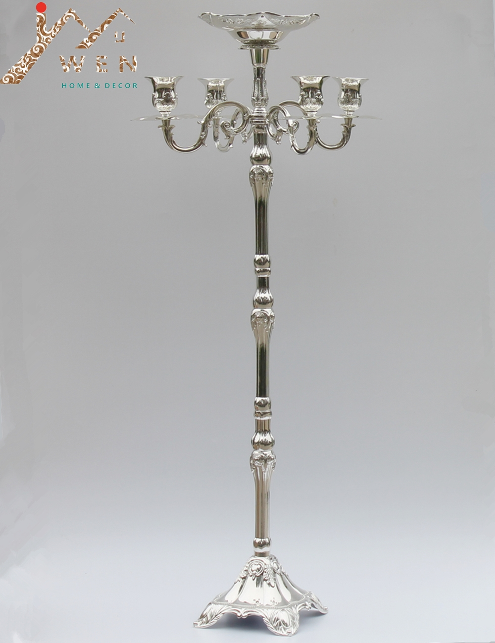 Top Rated Silver Plated Floor Candelabra 83cm Metal Candle Holder, Pure Silver Candleholder With Nice Flower Bowl