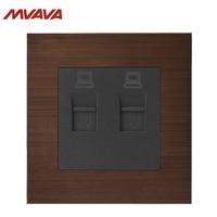 MVAVA Double PC Data Wall Socket Dual RJ45 Outlet Internet Computer Jack Plug Luxury Network Alumimum