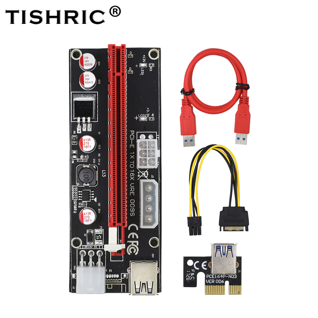 Tishric 2018 новые PCI Express PCIe pci-e 009 S molex 6pin Питание адаптер SATA для USB 3.0 кабель 1x к 16X Riser Card