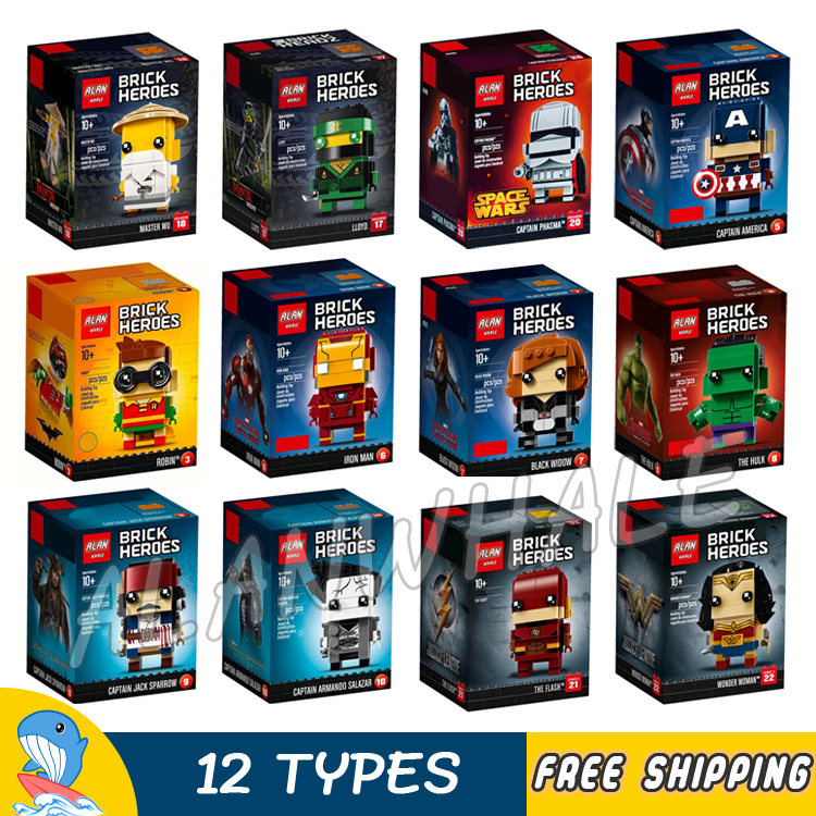 12Types BrickHeadz Super Heroes Figures Captain America Iron Man Hulk Lloyd Robin Wonder Woman Model Building Blocks Toys