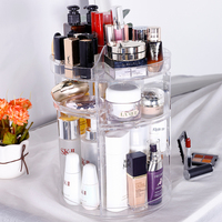 Makeup Organizer, 360 Degree Rotating Adjustable Cosmetic Storage Display Case 8 Layers Large Capacity, Fits Jewelry