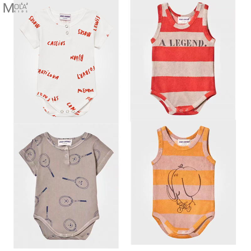 2017 New BOBO CHOSES Baby Brand Bodysuit Tiny Cottons Baby Clothes Summer Sleeveless Jumpsuit Infant New Born Baby Clothes BEBE newborn infant baby tiny cottons funny letter short sleeve bodysuit baby boy girl clothes outfits jumpsuit half wild baby onesie