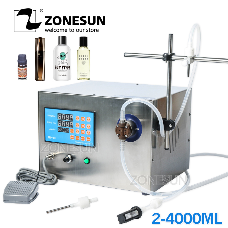 ZONESUN Magnetic Pump Beverage Perfume Mineral Water Juice Essential Oil Electric Digital Control Liquid Bottle Filling Machine applicatori di etichette manuali