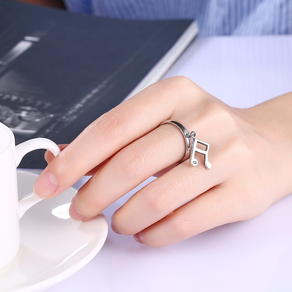 Jewelry Fashion Music Symbol Ring, Retro Style Personality Casual ...