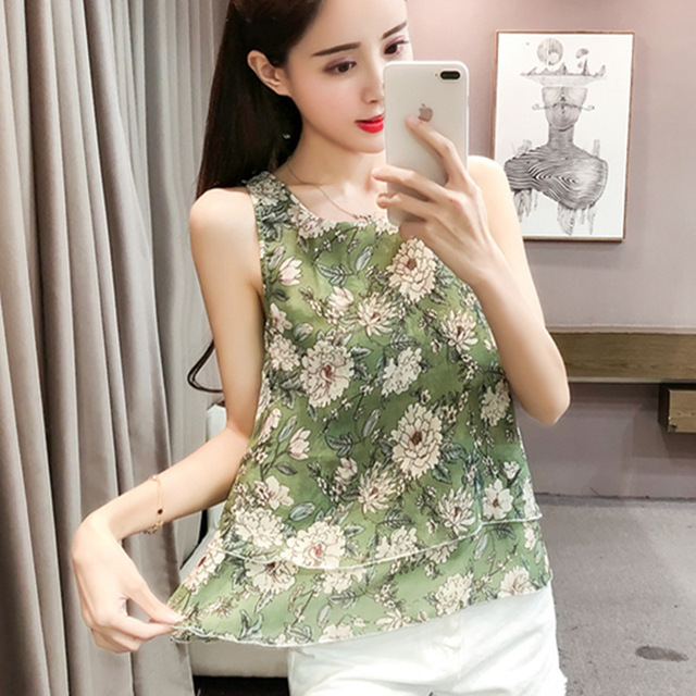 96c67dc0a9b2 2018 Casual Chiffon Shirt Fashion Elegant Women Tops And Blouses Summer New Sleeveless  Print Ladies Shirts