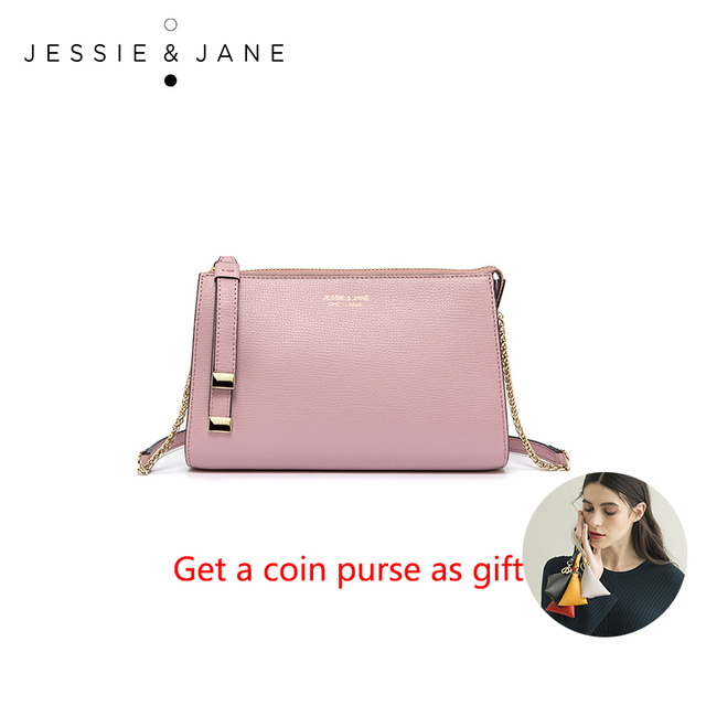 JESSIE & JANE New Style Fashion Simple Chain Bag Split Leather Women Crossbody Bags Shoulder Bag 1721