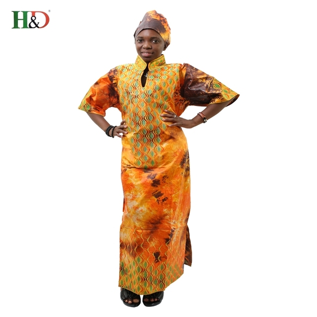 H&D African Riche bazin dress for women Cotton 100% clothes women African traditional embroidered clothing Plus Size