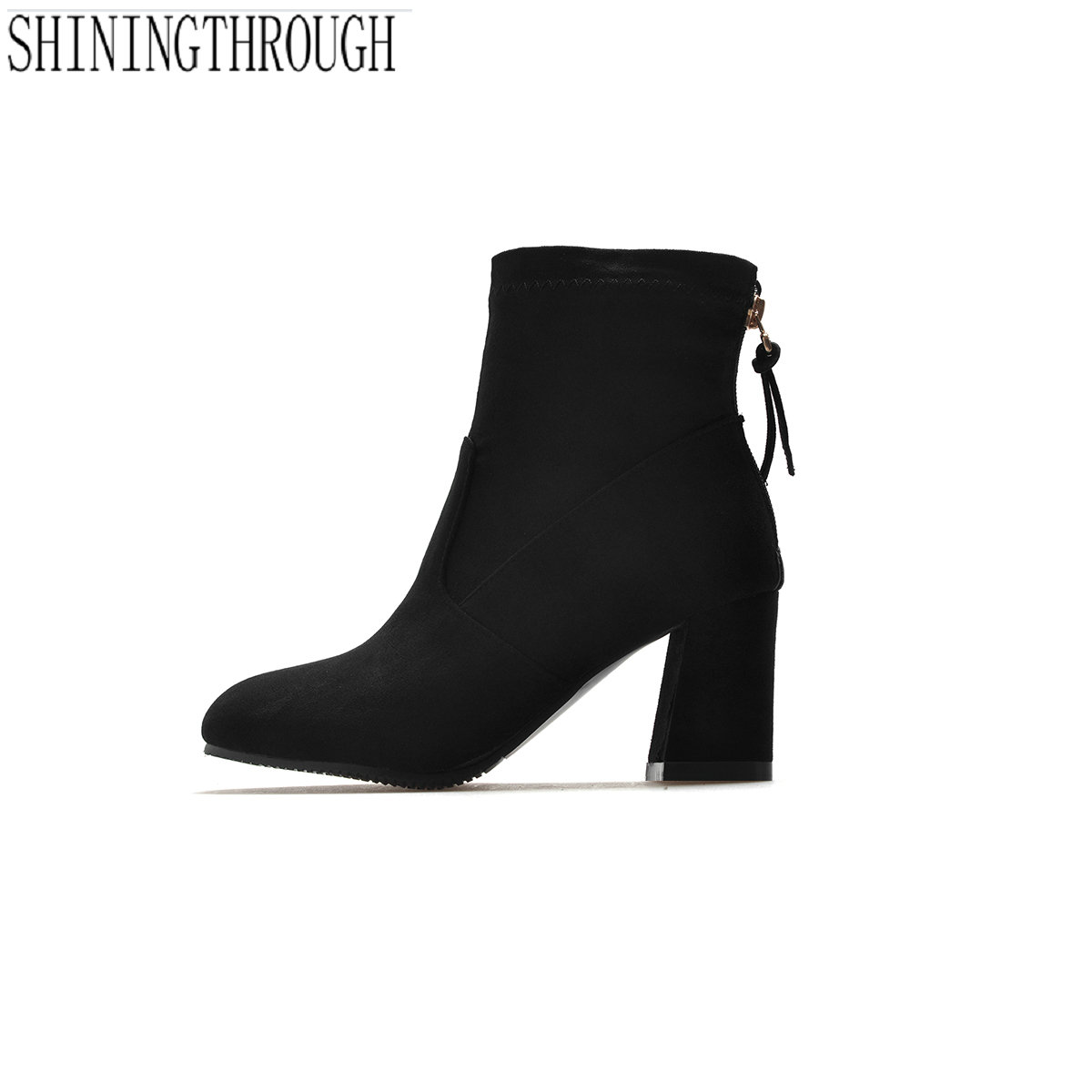 NEW zopper women boots casual ankle boots thick high heels boots office lady dress shoes woman elegant led shoes