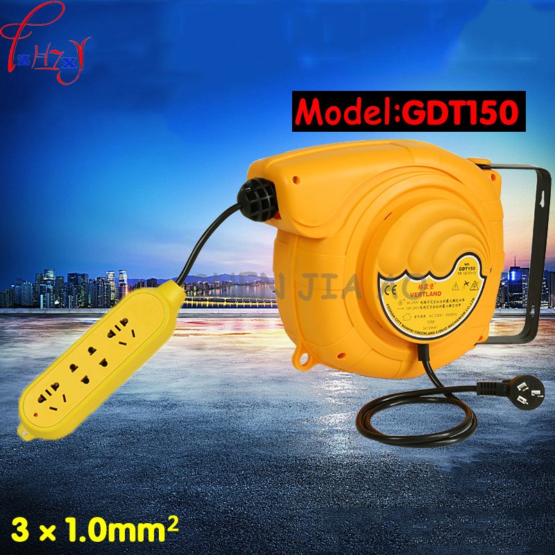 Automatic telescopic drum cable tray GDT150 220V plug board board line 15 meters electric automatic hose reel 1pc automatic spanish snacks automatic latin fruit machines