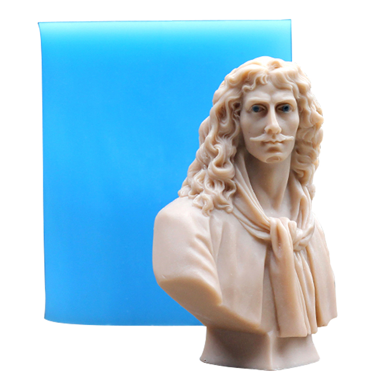 In Quality The Cheapest Price Nicole Silicone Soap Mold 3d Sculpture Moliere Handmade Candle Craft Resin Clay Making Tool Gypsum Statue Mould Superior