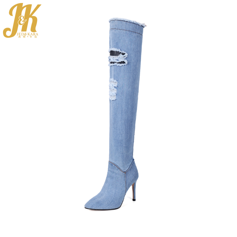 JK High Heels Over the Knee Boots Denim Women Boots Zipper Pointed Toe Thin Heels Footwear Spring Fashion Sexy Ladies Shoes 2018 hot women over the knee boots high heels spring autumn pointed toe denim boots fashion tight high jeans boots