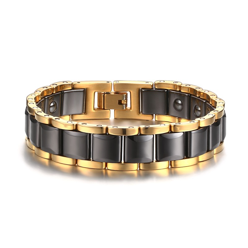 Fashion Mens Magnetic Bracelets Therapy Stainless Steel Ceramic Inlay Energy Ion Bracelet Luxurious Wristband Gents Jewelry Gift монитор philips 21 5 224e5qhsb 00 01 black cherry 224e5qhsb 00 01