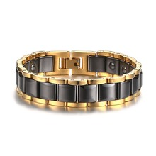 Fashion Mens Magnetic Bracelets Therapy Stainless Steel Ceramic Inlay Energy Ion Bracelet Luxurious Wristband Gents Jewelry Gift