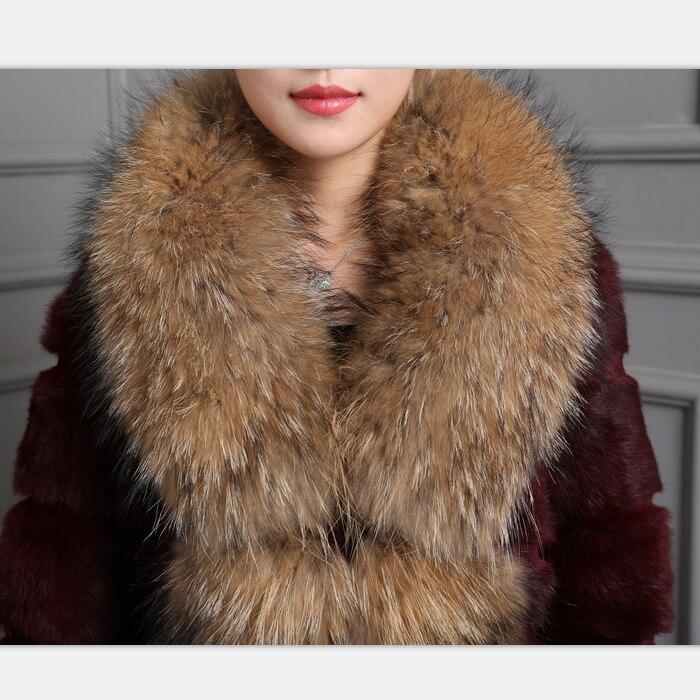 Col Mode Laveur Raton Veste De Lapin Outwear Chaud Taille Réel D'hiver Long Naturel Femmes Grande Manteau Fourrure FRPRqBwSHx