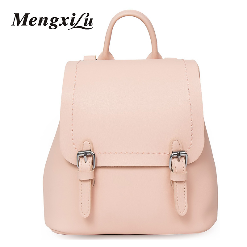 Famous Brand Women Backpacks Fashion PU Leather Shoulder Bags Zipper Solid Vintage School Bags For Girls High Quality Women Bags