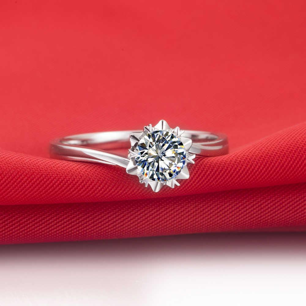 1 quilates fabuloso floco de neve homem feito sona diamantes sintéticos casamento anel de noivado ouro branco genuíno anel de prata esterlina