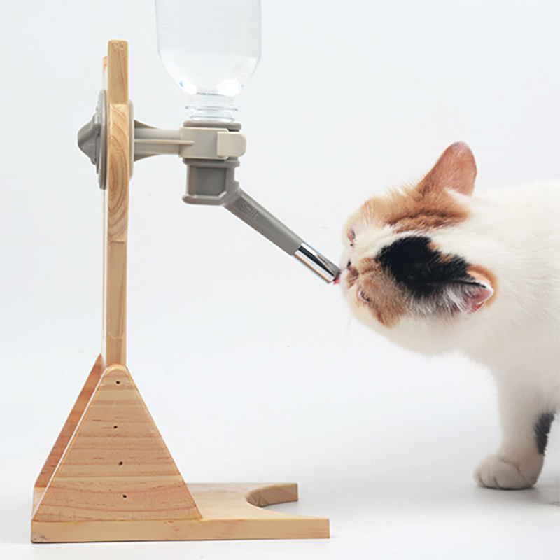 Cat Dog Water Bottle and Feeder Adjustable Standing Drinking Dispenser puppy dogs Automatic Luxury bamboo stand Elevated