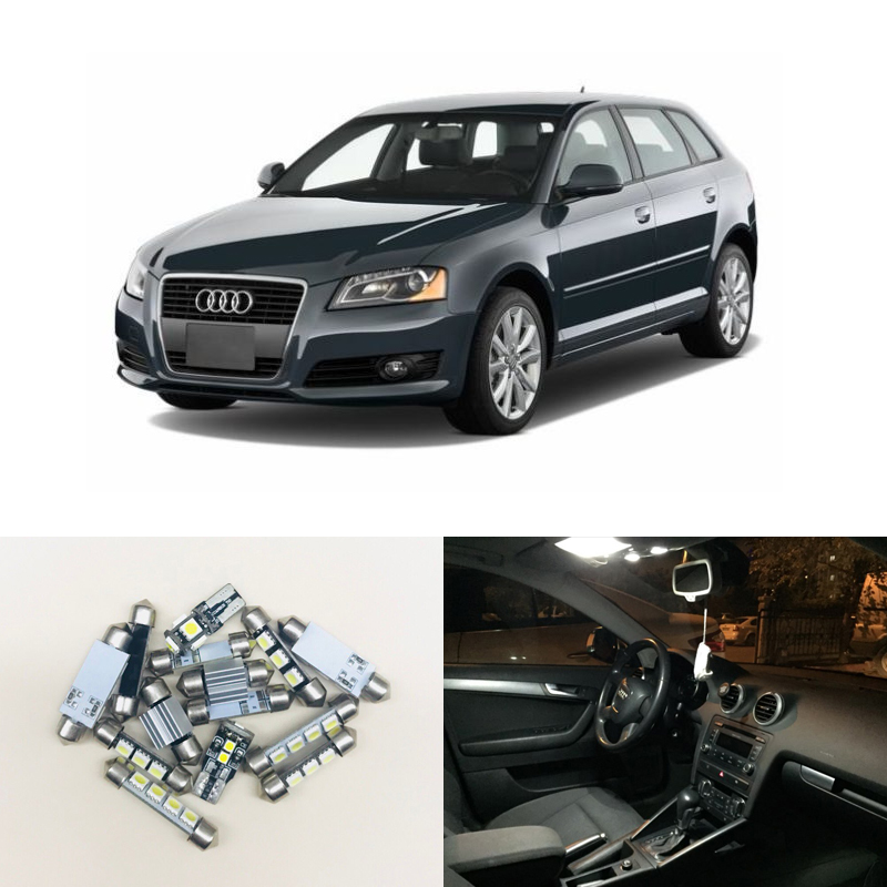 12PCs CAN-bus Error Free White Led Interior Light Kit Package Replace Bulbs For Audi A3 8P Accessories 04-13 Car-Styling