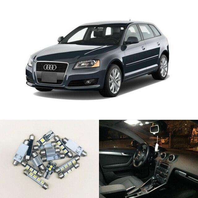 Juego de luz Interior Led sin Error CAN bus, 12 Uds., bombillas de repuesto para Audi A3 8P, accesorios 04 13