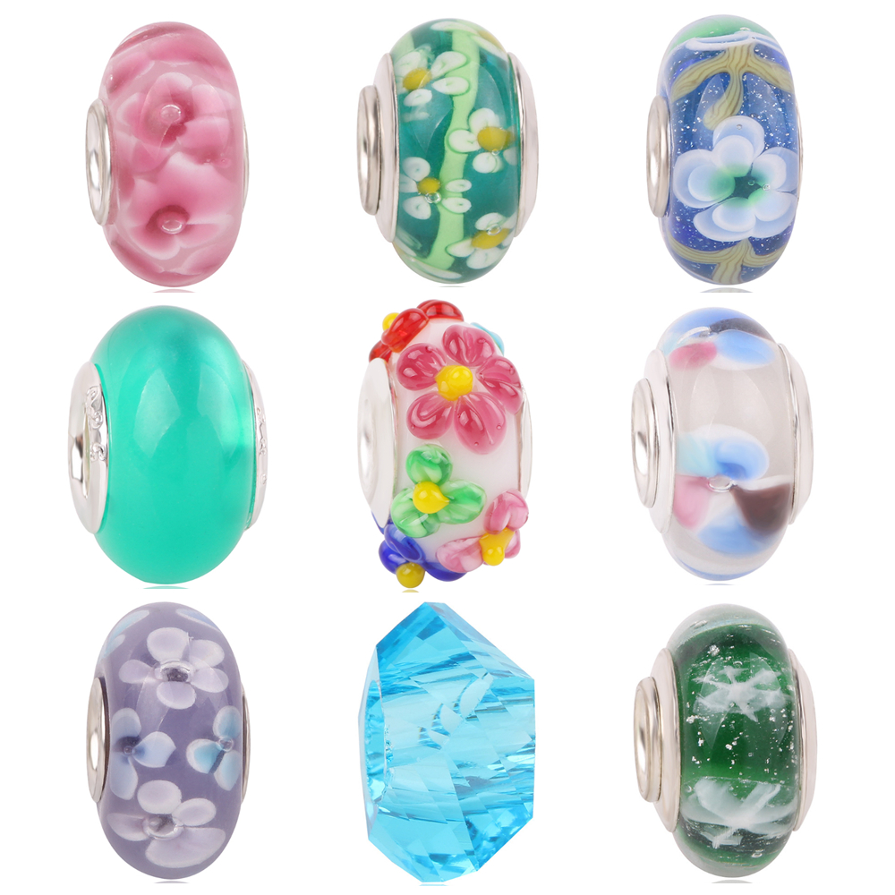 dodocharms New Free shipping Blue Pink White Murano Glass Beads Fits Original Pandora Charm Bracelet Jewelry Making DIY Gift in Beads from Jewelry Accessories