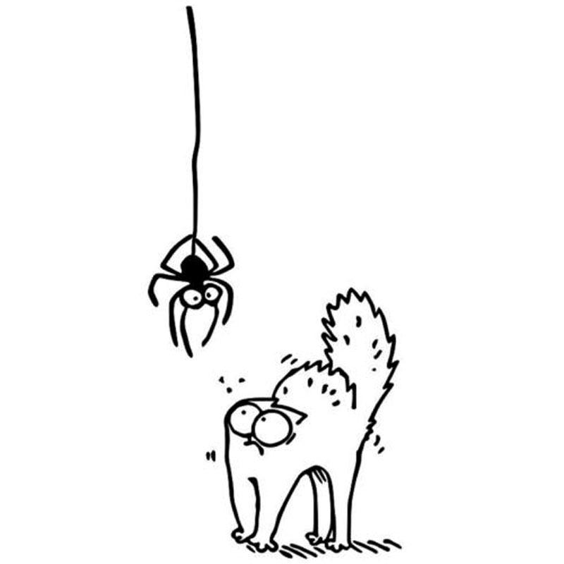 6.8*14.8 см напугал паук, кот Саймона мультфильм автомобиля стикер забавный зверек окно украшение наклейка С4-0467