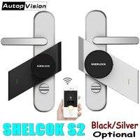 Plata/Negro cerrojo de barra inteligente de Sherlock S2 cerradura electrónica de puerta Bluetooth sin cable abrir o cerrar Puerta de trabajo Control de aplicación inteligente