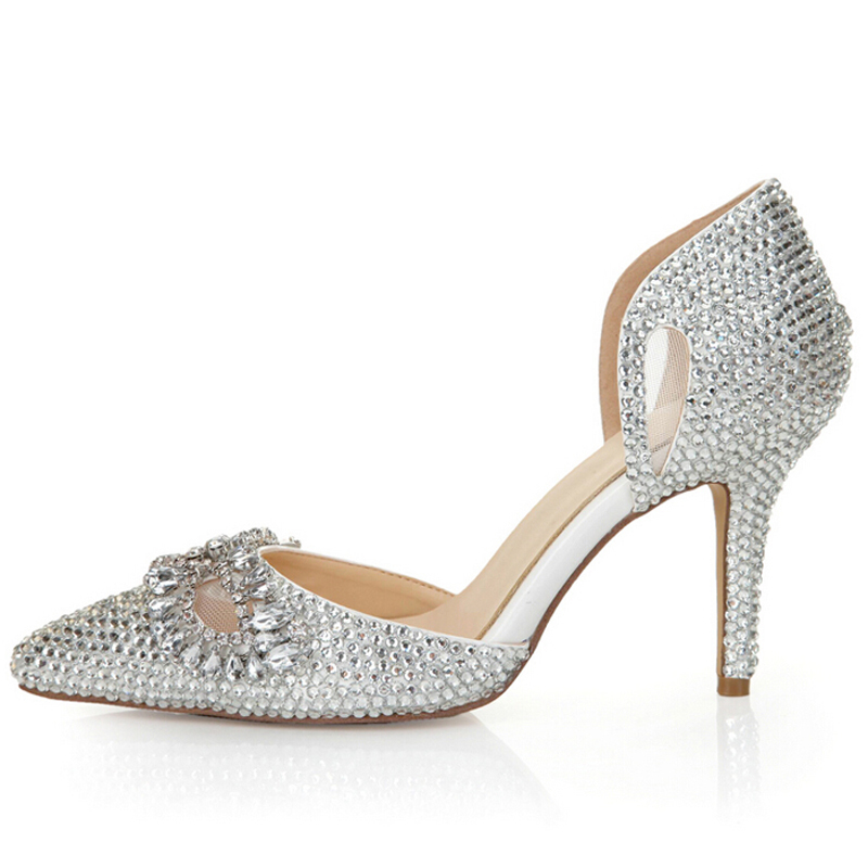 Silver Rhinestone Heels Pointed Toe Bling Cinderella Shoes