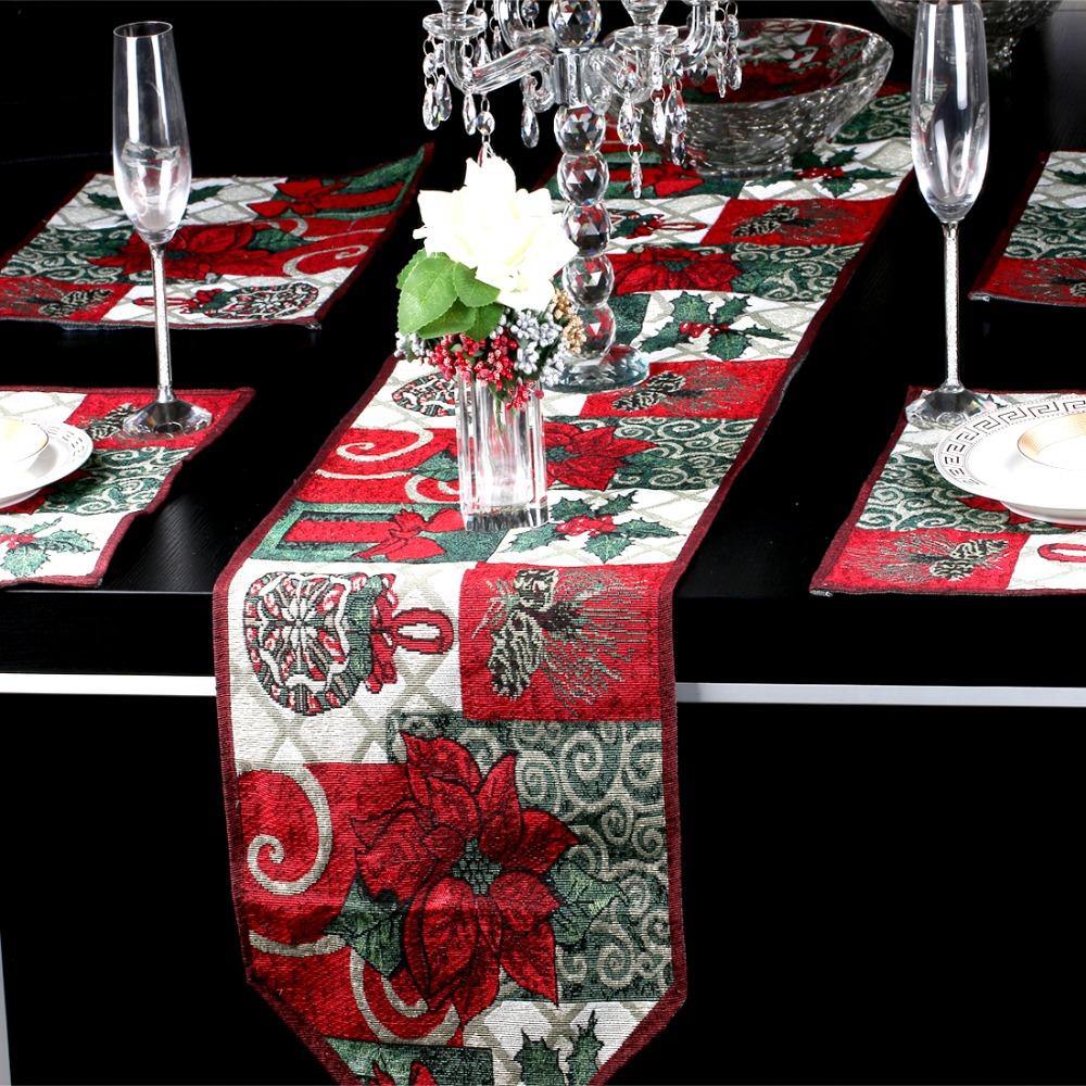 Christmas Style Table Runner For Wedding Bed Runner New Year Christmas Table  Decoration Tapestry Table Cloth Dining Mat Placemat