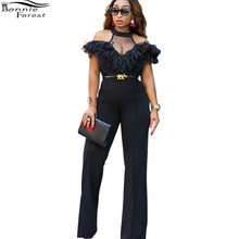 8766c02ac Bonnie Forest Sexy Women SHEER PANEL RUFFLE JUMPSUIT 2017 New Cold Shoulder  Jumpsuit with beautiful ribbon