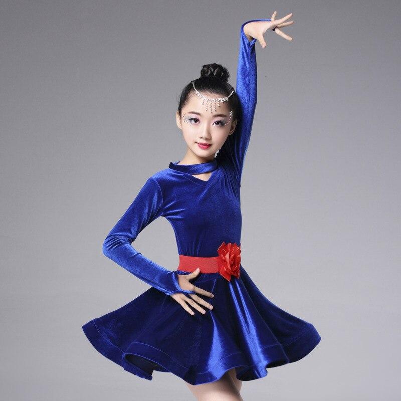 2018 rumba samba children samba cha cha tango skirt standard salsa girls velvet latin dresses for dancing ballroom dance dress