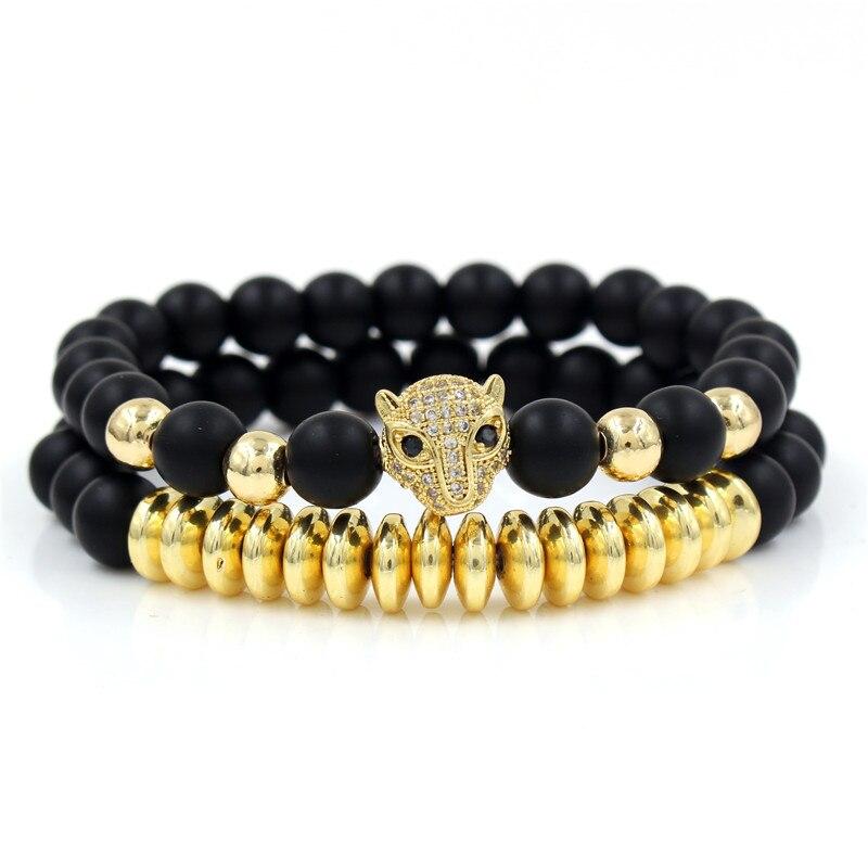 2018 Fashion Men/'s 18kt Plaqué Or Panther Zircon Leopard Head Macrame Bracelet
