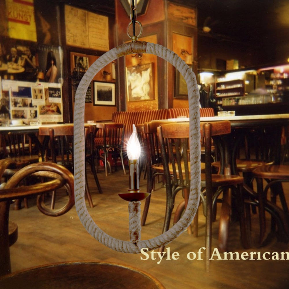 Vintage Pendant Lights Retro Industrial Loft Bar Oval Hemp Rope Lamp Fixtures Lamparas for Cafe Restaurant Bar Lighting