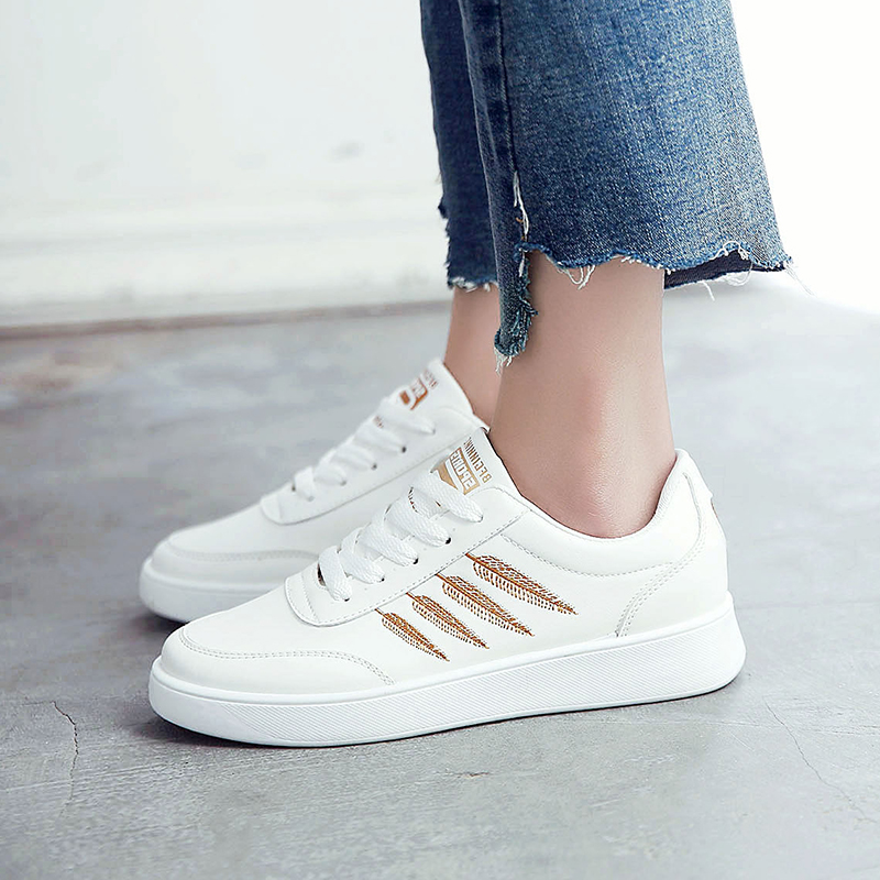 Woman Casual shoes Non-slip Gold embroidery PU leather Designer spring sneakers platform white shoes for women baskets femme