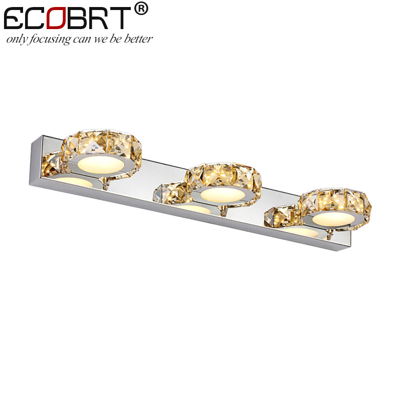 ФОТО Modern Brief Wall Lights led 46cm long 9W Stainless Steel Round LED Indoor Crystal Luminaire in Bathroom Lighting