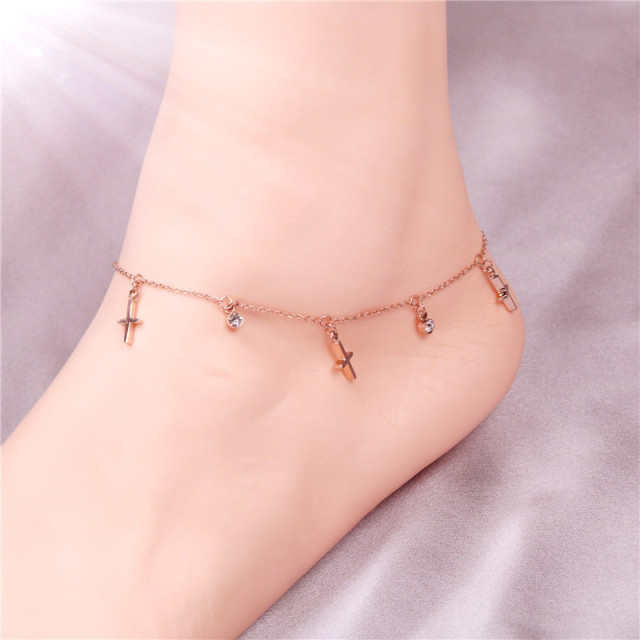 2017 fashion beach foot jewelry Jesus cross crystal anklets for