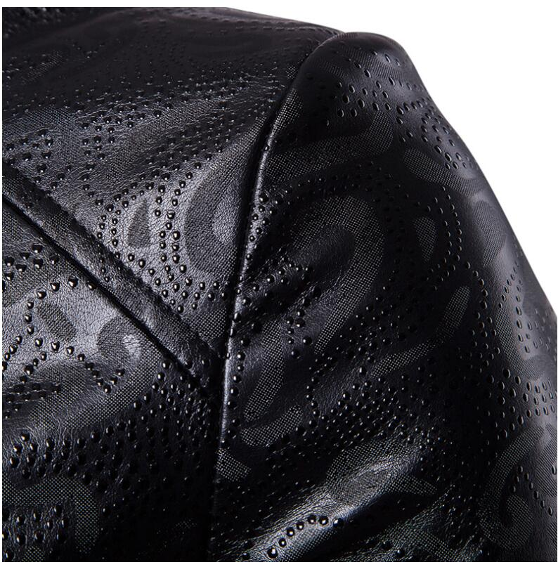 Solid color motorcycle leather jacket men British washed embossed dark PU clothes mens leather jackets and coats biker fashion in Faux Leather Coats from Men 39 s Clothing