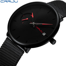 Crrju Sports Date Mens Watches Top Brand Luxury Waterproof Sport Watch Men Ultra Thin Dial Quartz Watch Casual Relogio Masculino(China)