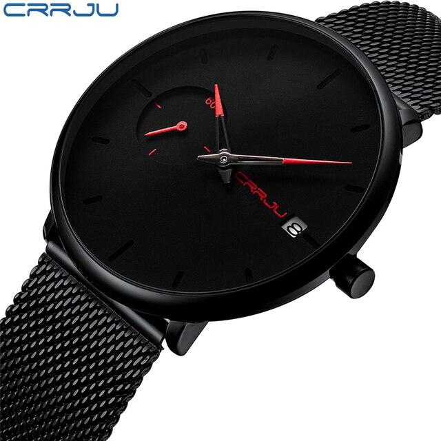 Crrju Sports Date Mens Watches Top Brand Luxury Waterproof Sport Watch Men Ultra Thin Dial Quartz Watch Casual Relogio Masculino