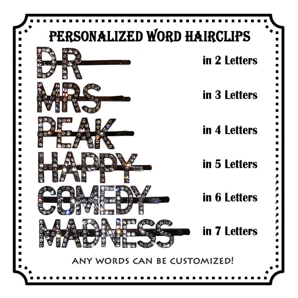 Заколка для волос на заказ/персонализированные надписи заколка для волос/заколка для волос на заказ/заколка для волос с кристаллами/уникальные ювелирные изделия и подарок под заказ