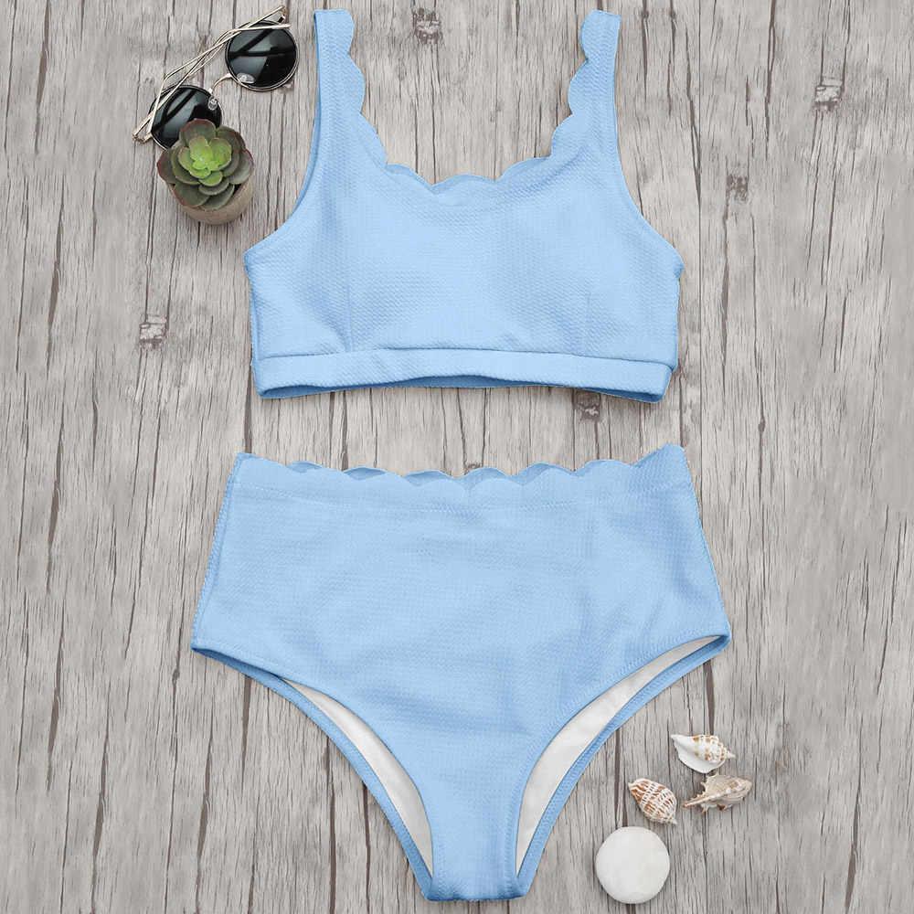 d8b418eb0d01e ZAFUL 2018 High Waisted Women Swimsuit Scalloped Bralette Bikini Set  Swimwear Solid Color Summer Beach Bathing