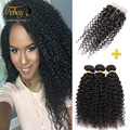 7A Brazilian Virgin Hair With Closure 3bundles Hair Extension With Closure Brazilian Kinky Curly Virgin Hair With Lace Closure
