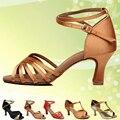 Muchacha de Las Mujeres del Satén Zapatos de Baile Latino/salón de Baile de Cuero/Tango Salsa Sandalias 5.4 cm/7 cm de Tacón Más Estilo (más color)