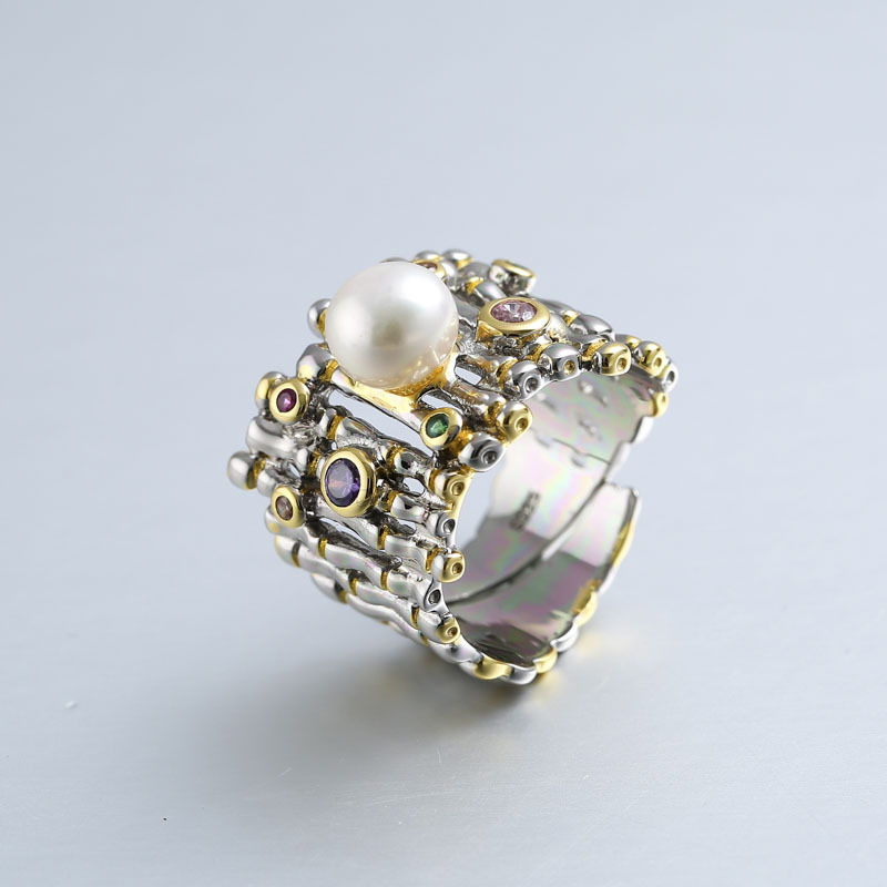 925 sterling silver zircon pearl rings gold adjustable natural freshwater Baroque pearl wave rings for women