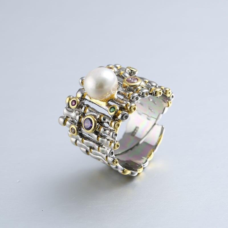 925 argent sterling zircon perle anneaux or réglable naturel d'eau douce Baroque perle vague anneaux pour les femmes 925 bijoux cadeau