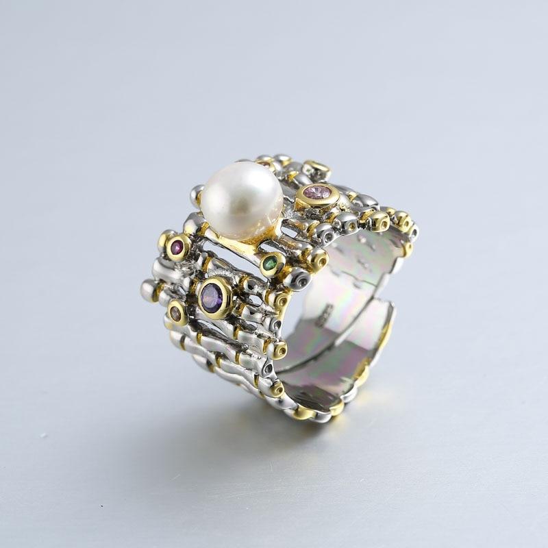 925 en argent sterling zircon perle anneaux or réglable naturel d'eau douce Baroque perle vague anneaux pour les femmes 925 bijoux cadeau